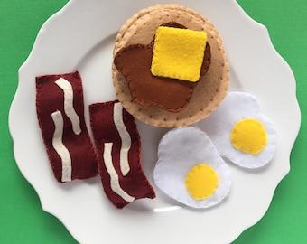 Felt Breakfast Set: bacon, eggs and pancakes!