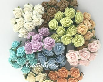 50 Variations Listing of Mulberry Paper Flowers for Baskets Scrapbooks Wedding Cupcake Cards Dolls Crafts Roses (TONE-426/zR3)