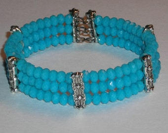 Baby Blue Faceted Rondelle Bead Cuff