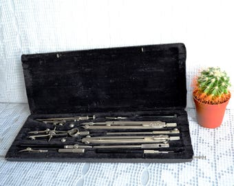 Vintage Drawing Set Drawing tool steampunk tool set Drawing Instruments Drafting Instrument Set and Case, Technical Supplies