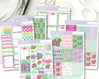 Vertical Kit - Home Sweet Home 6 Sheet Planner Stickers Kit - Hand Drawn House Doodle Planner Sticker Kit - HHKV
