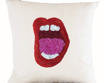 pop art pillow cover, lips pillow, lip pillow, pop art cushion, art pillow, linen pillow, red lips pillow, birthday gift, modern pillows