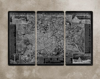 """Vintage Map of Rome METAL triptych 36x24"""" FREE SHIPPING"""