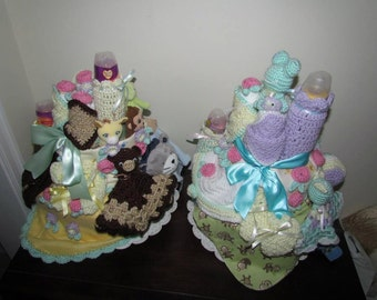 Crocheted Diaper Cake With Toys