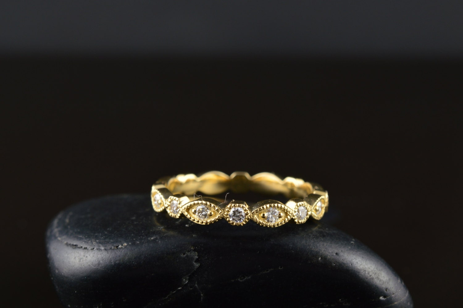 white and diamond stone gold bezel strand products bands band stacking banns yellow eternity