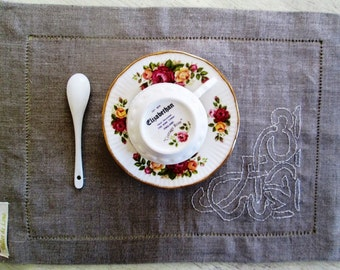 Linen placemat , mise en place linen mat, linen tea for try or table