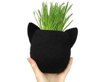 Animal Planter. Felt Planter. Black Cat. Plant Pot. Cat Planter. Cactus Pot. Animal Plant Pot. Best Friend Gift. Cat Lover Gift