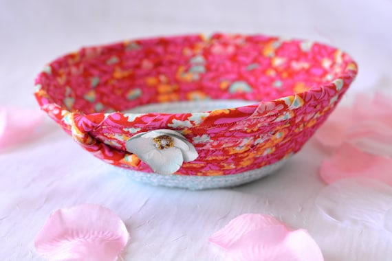 Magenta Quilted Basket, Handmade Pink and Turquoise Bowl, Pink Candy Dish, Makeup Organizer, Cute Desk Accessory Basket