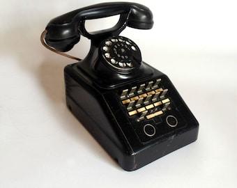 Vintage telephone German telephone Vintage rotary telephone Long telephone Vintage handset Collectible telephone Antique telephone