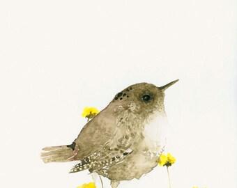 Bird Art Card Wren Blank Greeting Card