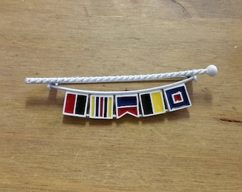 Vintage Metal and Enamel Flag Banner Brooch