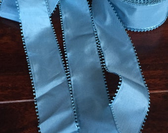 Vintage picot taffeta French Blue - Swiss ribbon sold by the yard, 2 1/8 Wide, an amazing color