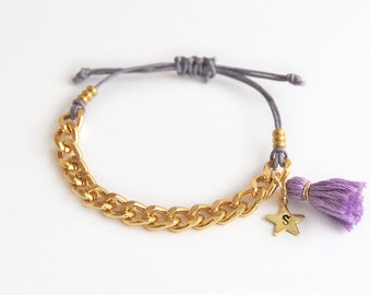 Personalized teen bracelet with chain and tassel, violet bracelet, initial bracelet, hand stamped initial star charm, gift for girls