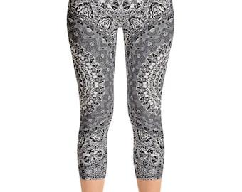Capris, Mid Rise Leggings Yoga Gray, Mandala Printed Yoga Art Pants, Gray Leggings, Fashion Leggings, Womens Stretch Pants