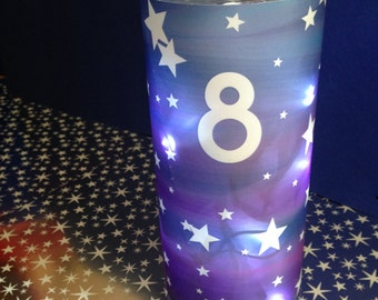 """10+ Luminary table numbers 8.5 inch tall """"Starry Night""""  for centerpieces, table numbers at wedding, events, balls"""