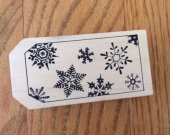 Stamp for Scrapbooking or Card Making- Snowflake Tagit -Rubber Stamp