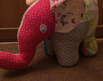 Large patchwork elephant doorstop!