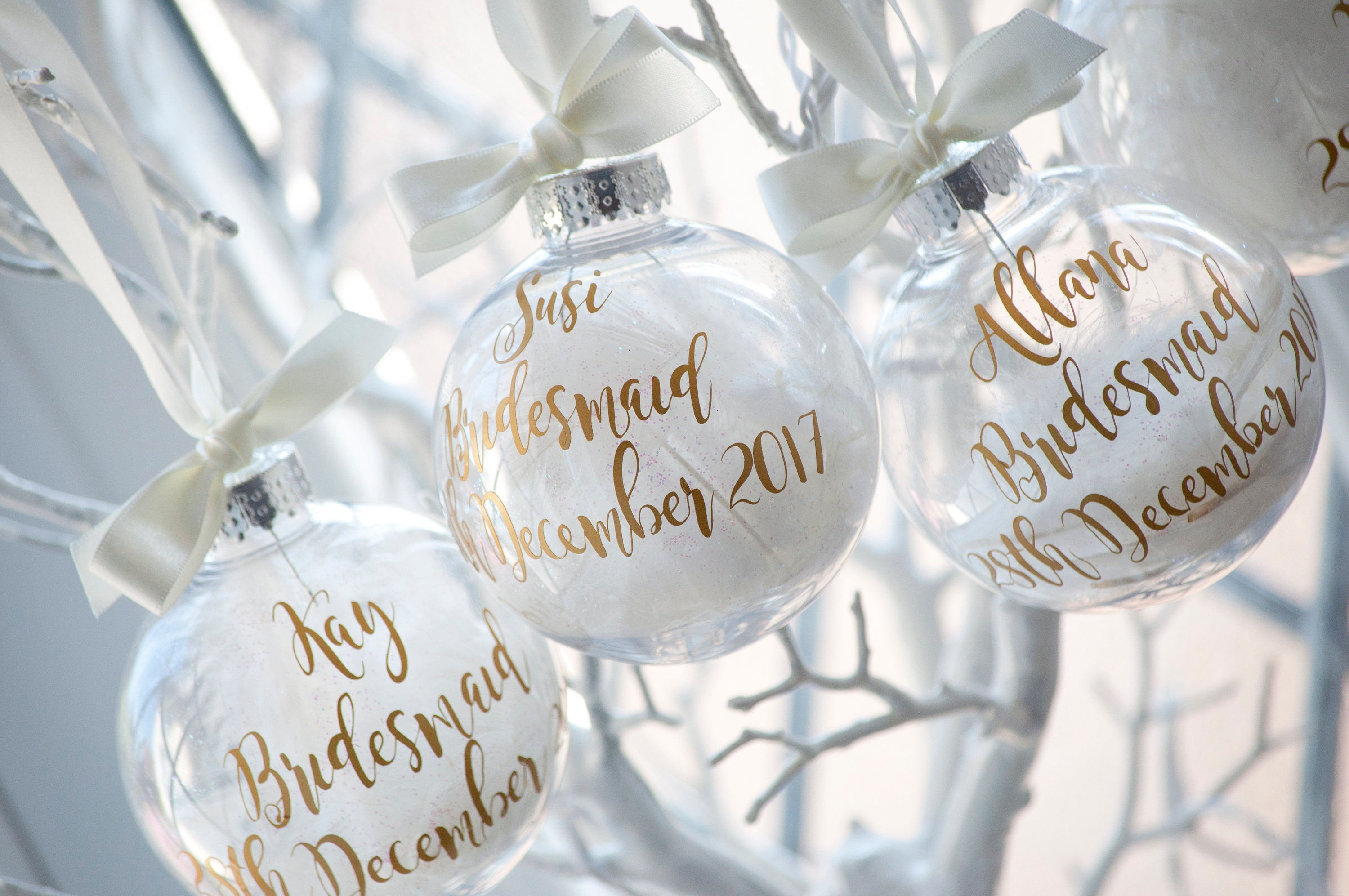 Bridesmaids Personalised Christmas Bauble