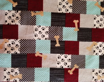 Pet Spa Patchwork Flannel Fabric Sold by the Yard