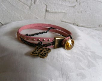 Leather Bracelet with Golden studs