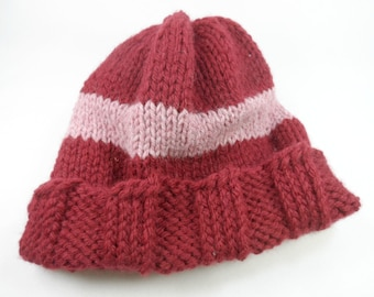 Chunky Acrylic Wool Blend Knitted Hat Handmade by Laren - Adult One Size Fits Most