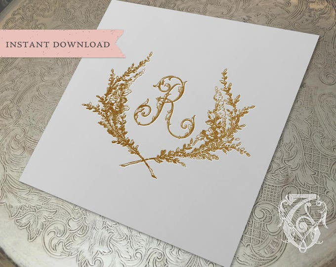 Vintage Wedding Initial Crest R Garden Wreath Digital Download