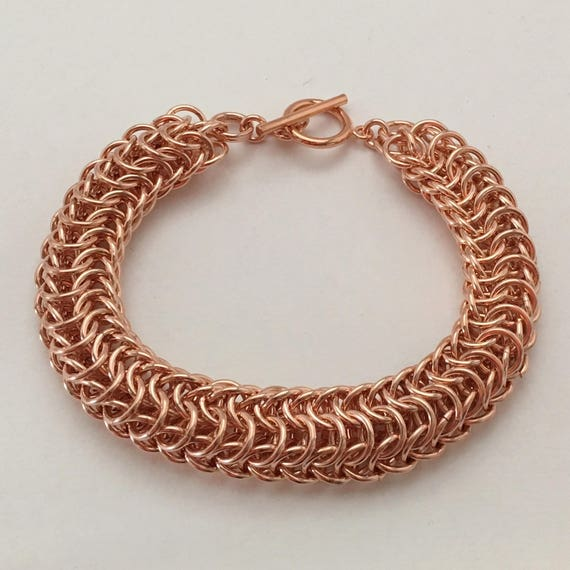 Persian Dragonscale Chainmaille bracelet, 100% natural copper