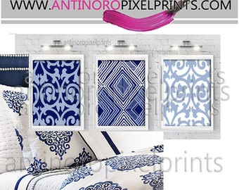 Geometric Damask Navy Light Blue White Wall Art Picture  - Set includes (3) - 16x20 Prints (UNFRAMED) #293774803