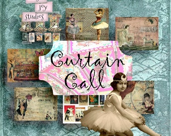 NEW Curtain Call  Digital Journal Kit  Journal Supplies  Vintage DIY  Vintage Scrapbook Paper  ClipArt  Dance  Victorian Journal  Ephemera