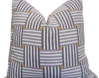 Grey Pillow - Grey Striped Pillows - Striped Cushions - Beach Stripe Pillow - Embroidery - Accent Pillow - PILLOW COVER ONLY