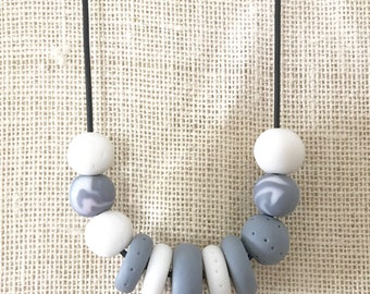 Grey and white handmade polymer clay chunky necklace, 60cm rubber cord with breakaway clasp