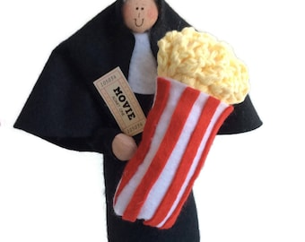 Funny Nun doll, theatre lover, movie goer, movies, film buff, humorous Catholic gift, Sister Fanna Flicks
