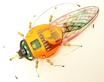 The Green Eyed, Copper Lacebug, Circuit Board Insect by Julie Alice Chappell