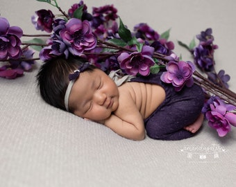 RTS - Newborn Upcycled Heathered Purple and Gray Romper With Bow Headband Outfit - Photography Prop Set - Ready to Ship