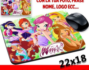 Winx Club Mat Mouse Pad Fairies Winx Club Bloom Flora Tecna Aisha Stella and others on request Made in Italy