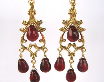 Garnet Red Chandelier Clip On Earrings, Gold Ear Clips, Dark Red Glass Drop Dangle Clipons, Burgundy Teardrops, Handmade, Delhi