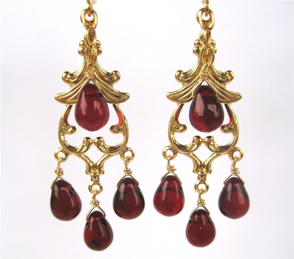 Garnet red chandelier clip on earrings gold ear clips dark zoom arubaitofo Choice Image