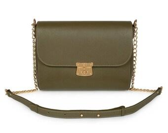 Leather Crossbody Bag, Olive Leather Shoulder Bag, Women's Leather Cross body Bag, Leather bag KF-326