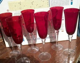 521) set of 6 Champagne flutes