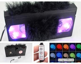 Fuzzy Black Faux Fur Labels • 20 color Retro VHS Lamp