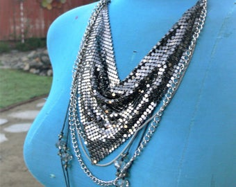 soft black bib necklace and with  glass beads