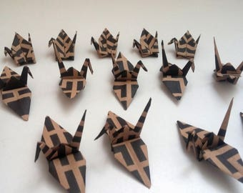 Black and Kraft origami cranes