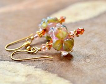 Lampwork Flower Bead Earrings, Pastel Flowers Earrings, Easter Earrings, Spring Jewelry Gift, Pink Artisan Glass Earrings, Gift for Women