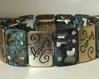 Rustic Bracelet, Patina, Inspirational, Stretch, Antique Bronze, Copper, Green, Blue