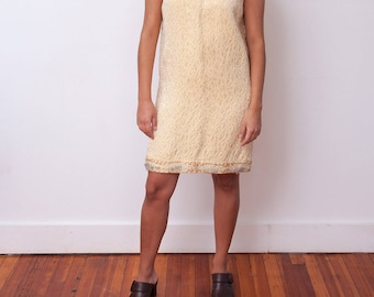 Vintage 1960s Party Dress - Vintage Sleeveless Dress - Cream 60s Dress - 1960s Structured Party Dress - Size Medium Large - Gift For Her
