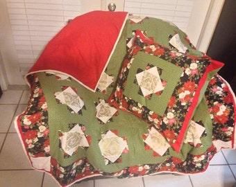Enchanting floral throw and pillowcase