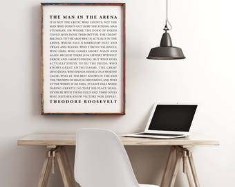 inspirational office decor. The Man In Arena Printable, Motivational, Inspirational Quote, Office Decor, Dorm Decor