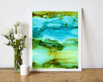 Abstract Art Print, Abstract Printable, Abstract Painting Print, Alcohol Ink Painting, 8x10 Print Modern Decor, olive turquoise green brown