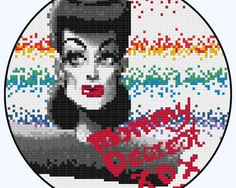 Mothers Day Gift, Mommy Dearest Cross Stitch Pattern,Funny Gift For Mum,Joan Crawford Embroidery PDF,Quirky X Stitch Pattern,Sewing Tutorial