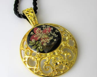 Mystique, Pressed Flowers on Ornate Thickly Gold Plated Pendant, Resin (1192)
